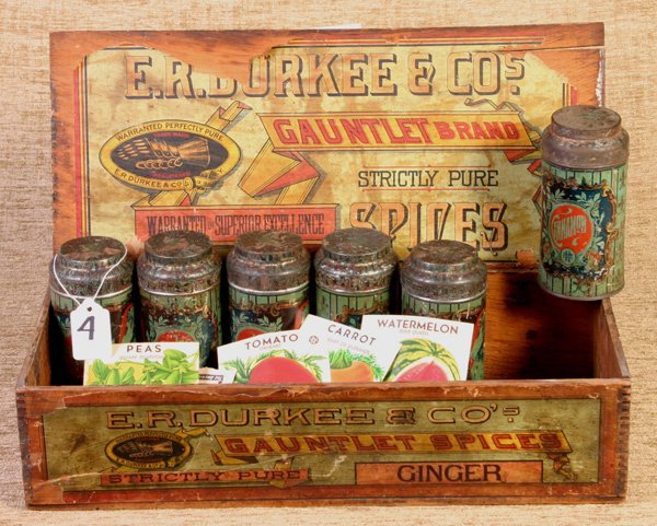 4: E. R. Durkee and Company Early Wooden Spice Box and