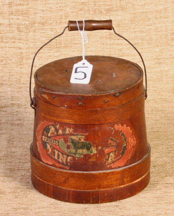 5: Early Pine Firkin with bell handle, retains partial