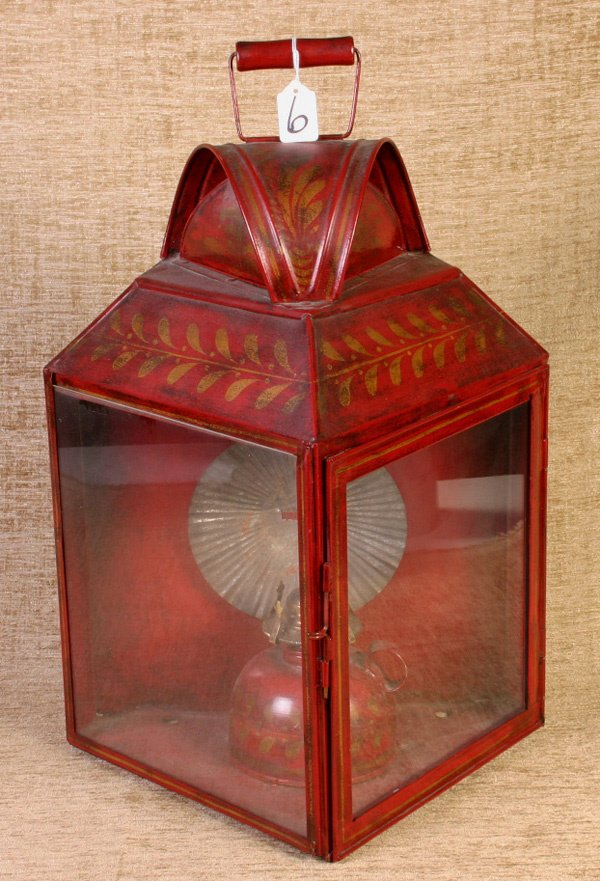 6: Beautiful Tin Tole Painted Lantern with oil lamp ins