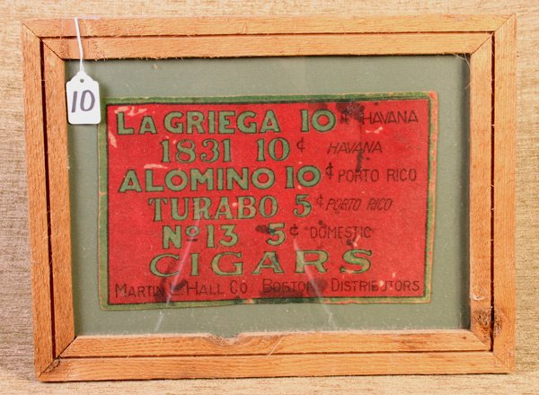 10: Early Martin L. Hall, Boston, Tobacco sign, 7 x 11,