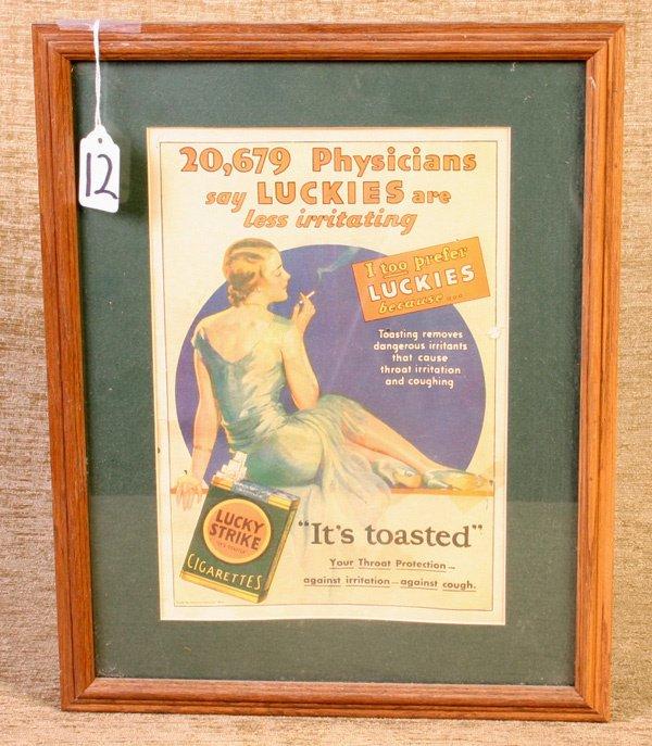 12: Vintage Framed Lucky Strike Paper Advertisement, me