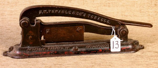 13: Venable and Company Cast Iron Tobacco Cutter.