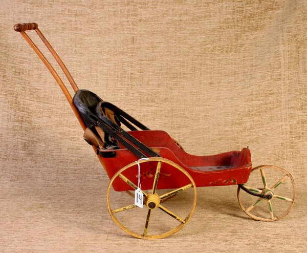 14: Early Original Paint Doll Carriage, circa 1890 - 19
