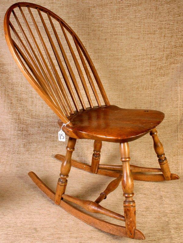 15: Early Pine Windsor Sewing Rocker, circa 1840 - 1860