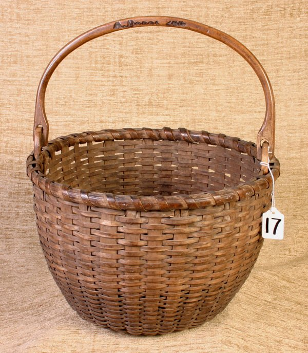 17: Beautiful Early Swing Handle Basket with makers nam