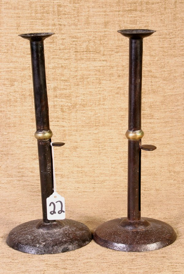 22: Two Early Wedding Ring Hog Scraper Tall Candlestick