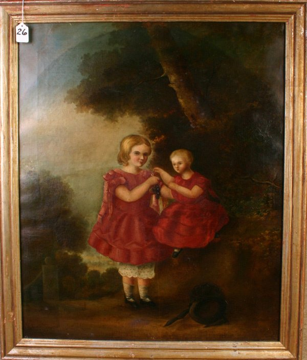 26: Fine Early New England Oil Painting, 24 x 29.  Subj