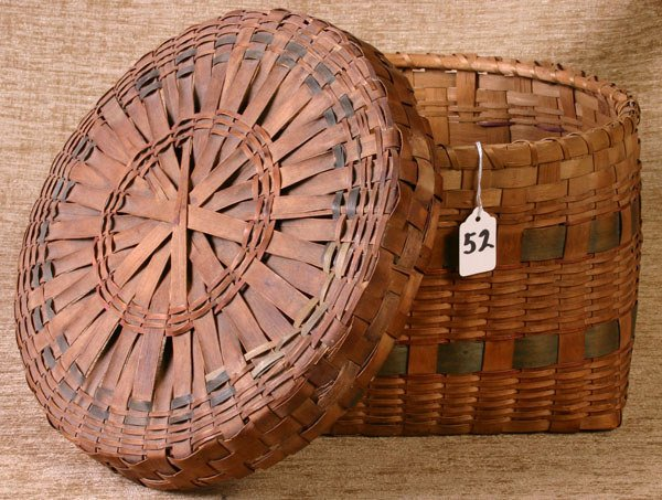 52: Fine New England Indian Basket with blue bands wove