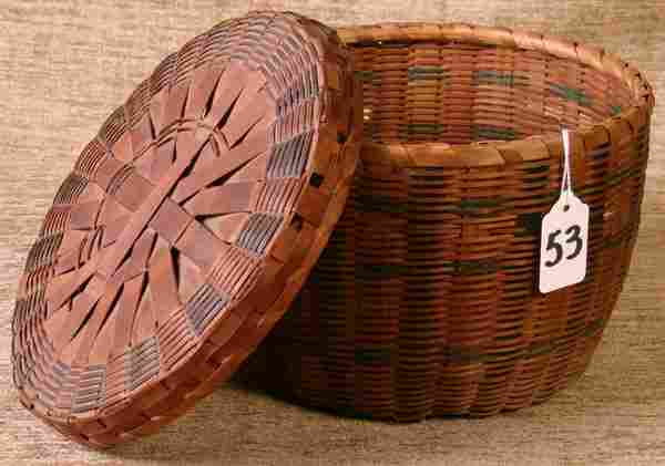 Fine Early New England Indian Basket with Blue Band