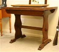 145: Small English Draw Leaf Oak Dining Table, top meas
