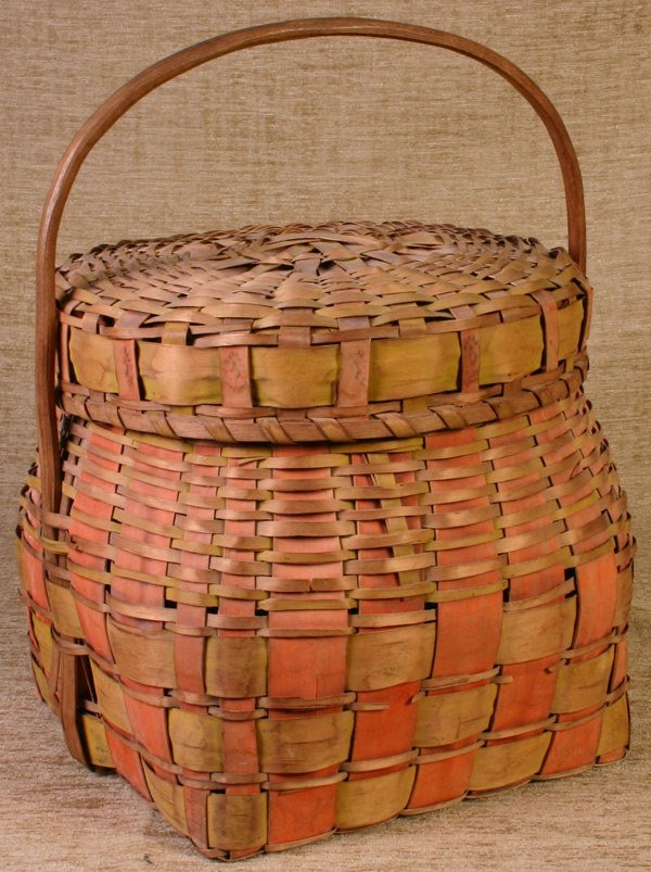180: Fine Early New England Indian Basket with Lid, Sal
