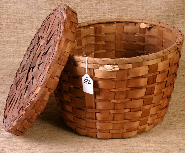 392: Round Covered New England Indian Basket, 8 1/2`` ta