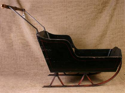 Early Child`s Push Sleigh with Good Stenciling Ear