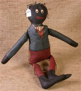 Canvas and Sawdust Filled Black Doll, 23`` Long.
