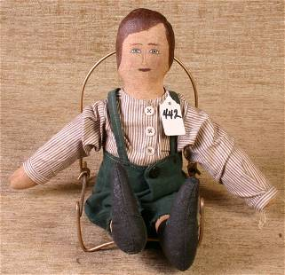Boy Doll, 14`` Long, Canvas and Sawdust Filled.