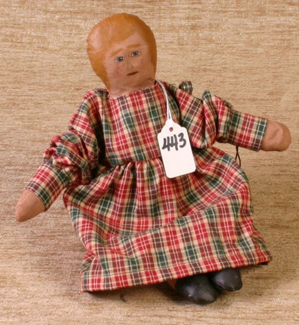 443: Girl Doll, Canvas and Sawdust Filled, 11`` Long.