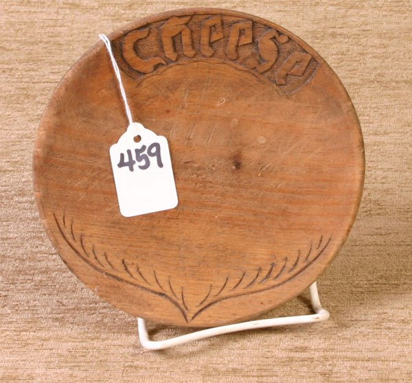 459: 6`` Wooden Carved Cheese Dish marked Cheese.