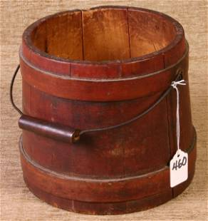 Wooden Firkin, 7`` tall with Bell Handle in origina