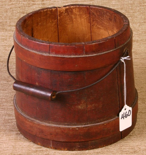 460: Wooden Firkin, 7`` tall with Bell Handle in origina