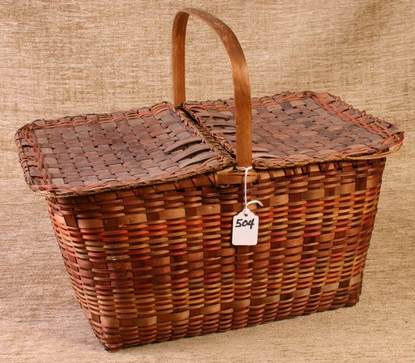 504: Early New England Indian Picnic Style Basket, grea