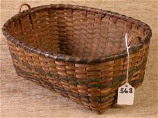 568: Early New England Indian Basket with Double Handle
