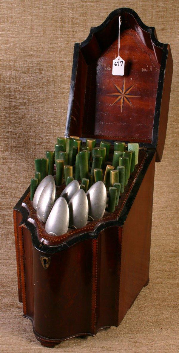677: Beautiful Inlaid Table Model Silverware Cabinet wi