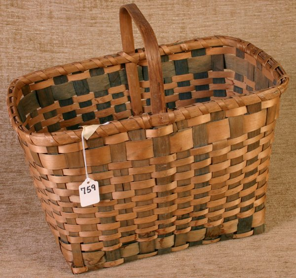 759: New England Indian Basket with Wooden Handle.  Ple