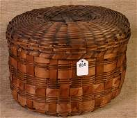 800: Early New England Indian Basket with Lid, Red Pota