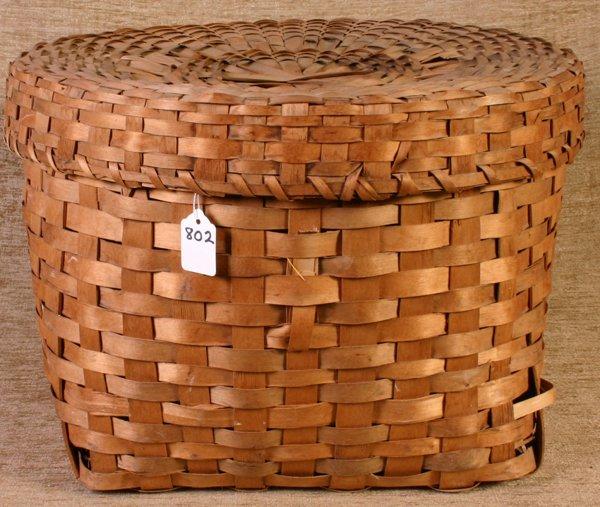 802: New England Indian Storage Basket with lid, 12`` hi