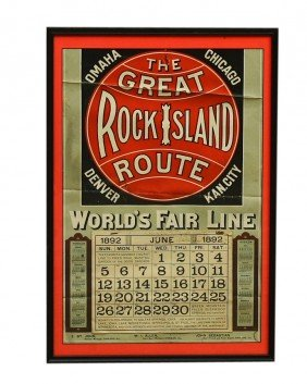 Framed 1892 Calendar - THE GREAT ROCK ISLAND ROUTE-