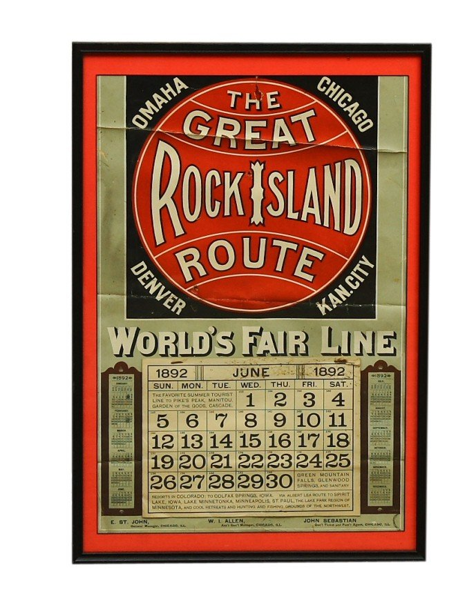 2: Framed 1892 calendar - THE GREAT ROCK ISLAND ROUTE-