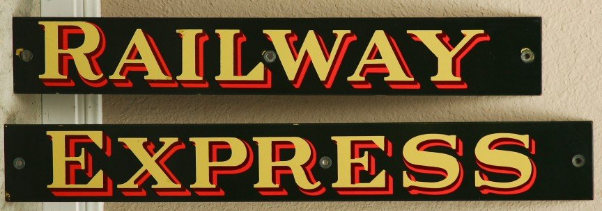 "3: 2  Raised porcelain vintage signs 4"" x 58"" for RAILW"