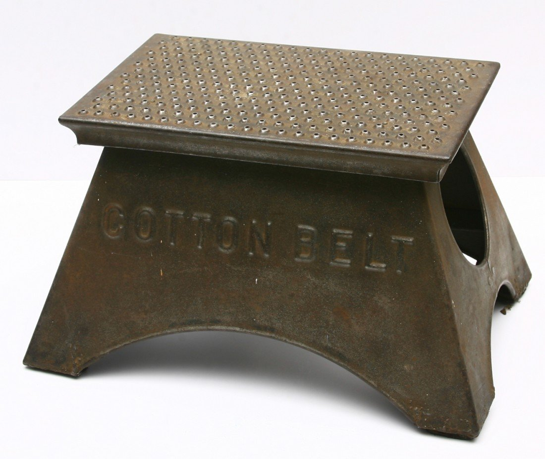 4: COTTON BELT marked step stool, original condition.