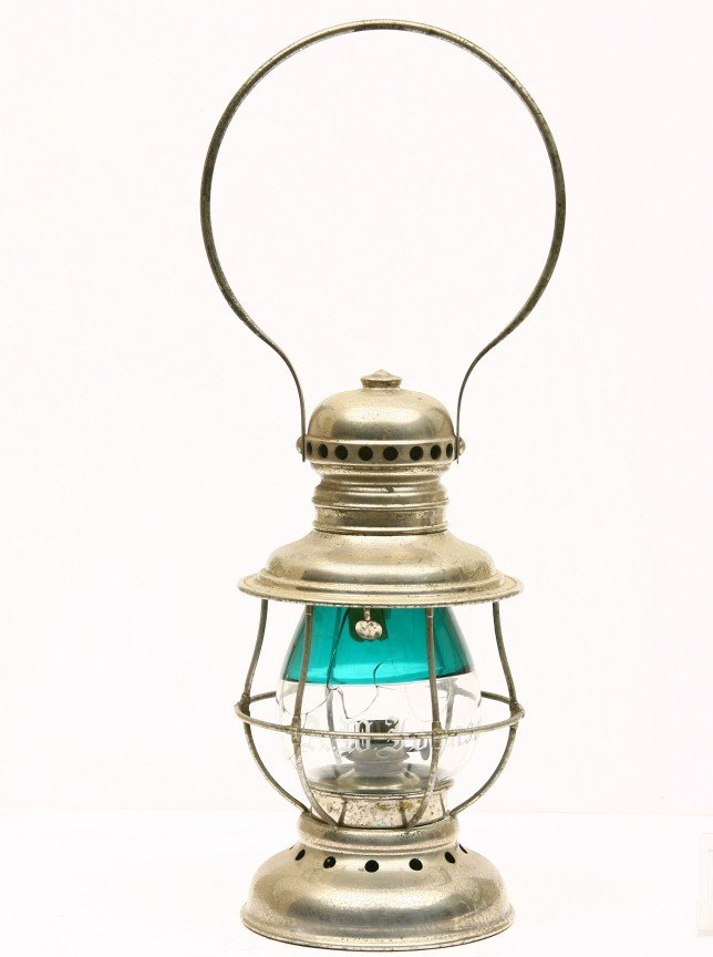 8: Presentation R.R. Lantern, nickel finish, globe is c