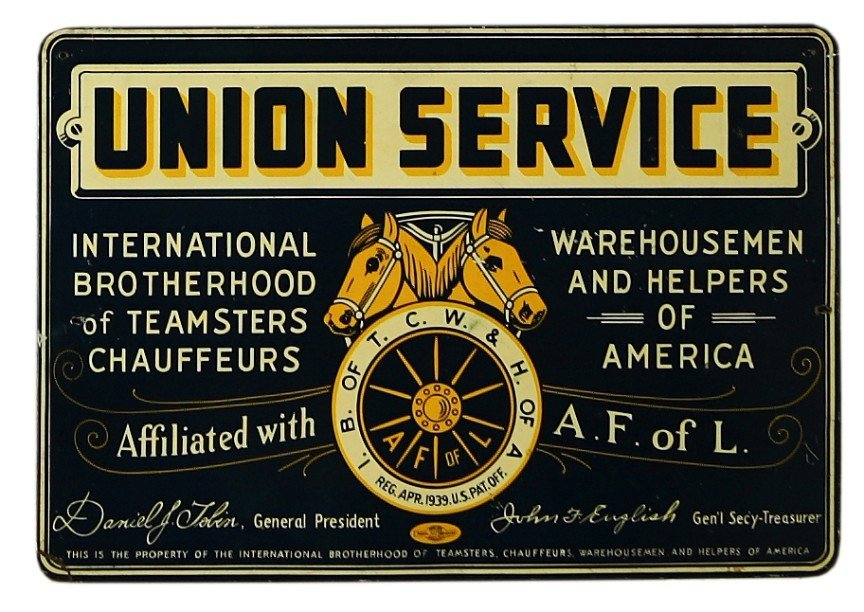"14: Vintage UNION SERVICE tin sign 13"" x 19"" for Intern"