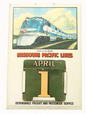 Vintage Tin R.R. Calendar  W/ Cardboard Day And Mon