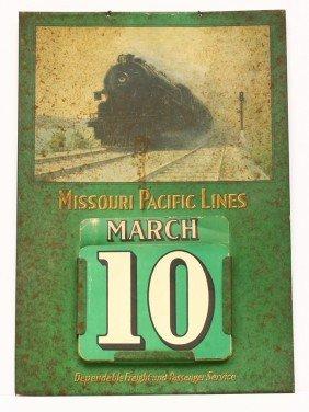 Vintage Tin R.R. Calendar W/ Part Cardboard Day And