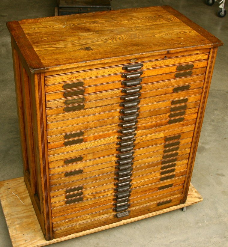 "328: Vintage multi drawer Oak type cabinet 43"" tall x 2"
