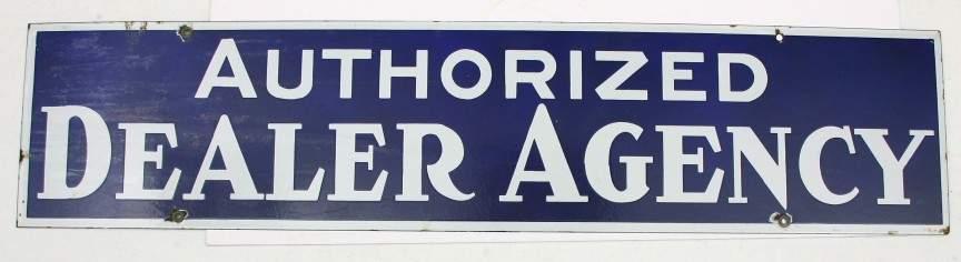 """456: Vintage porcelain sign 9"""" x 40"""",""""AUTHORIZED DEALER"""