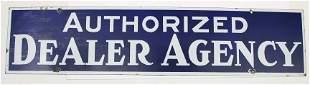 """Vintage porcelain sign 9"""" x 40"""",""""AUTHORIZED DEALER"""