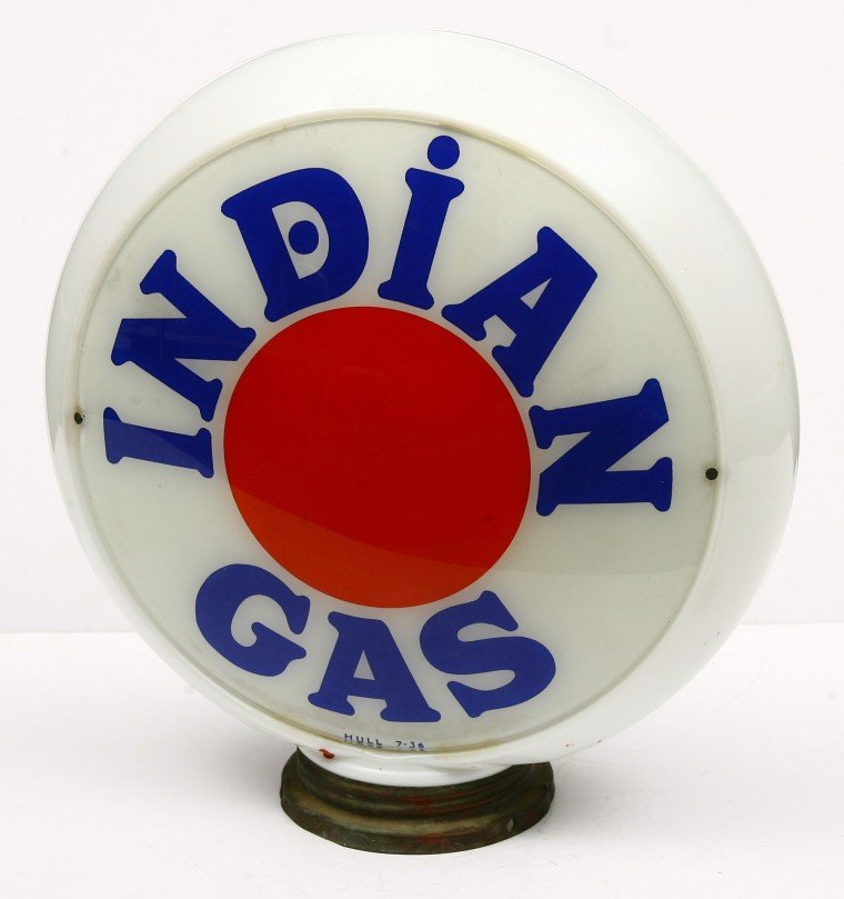 "459: Vintage Indian gasoline globe w/ 13 1/2"" glass bod"