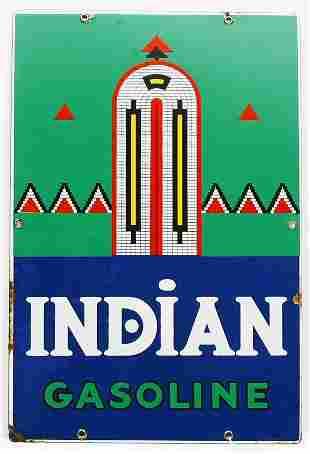 """Vintage flat porcelain 12"""" x 18"""" Indian gasoline s"""