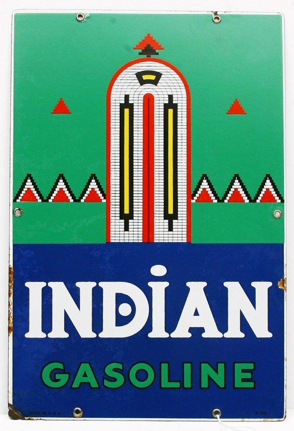 """461: Vintage flat porcelain 12"""" x 18"""" Indian gasoline s"""