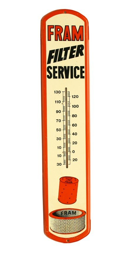 """463:  Tin advertising thermometer 8"""" x 38 1/2"""" for FRAN"""