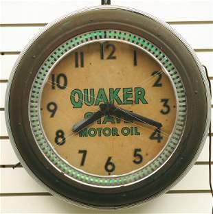 "Vintage QUAKER STATE advertising ""SPINNER"" clock,"