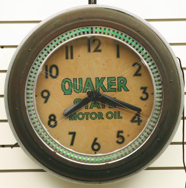 "465: Vintage QUAKER STATE advertising ""SPINNER"" clock,"