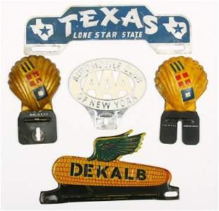 5 Vintage license plate holders in original paint.