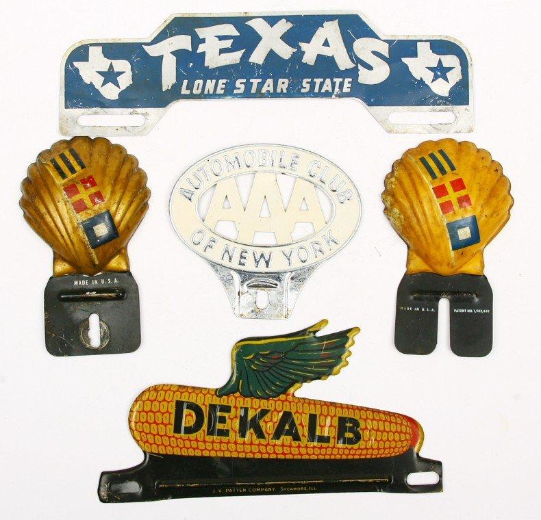 467: 5 Vintage license plate holders in original paint.