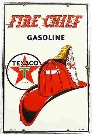 "TEXACO FIRE CHIEF GASOLINE 12"" x 18"" raised porce"