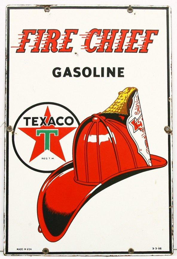 "469: TEXACO FIRE CHIEF GASOLINE 12"" x 18"" raised  porce"